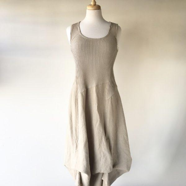 Beige Linen Bubble Dress